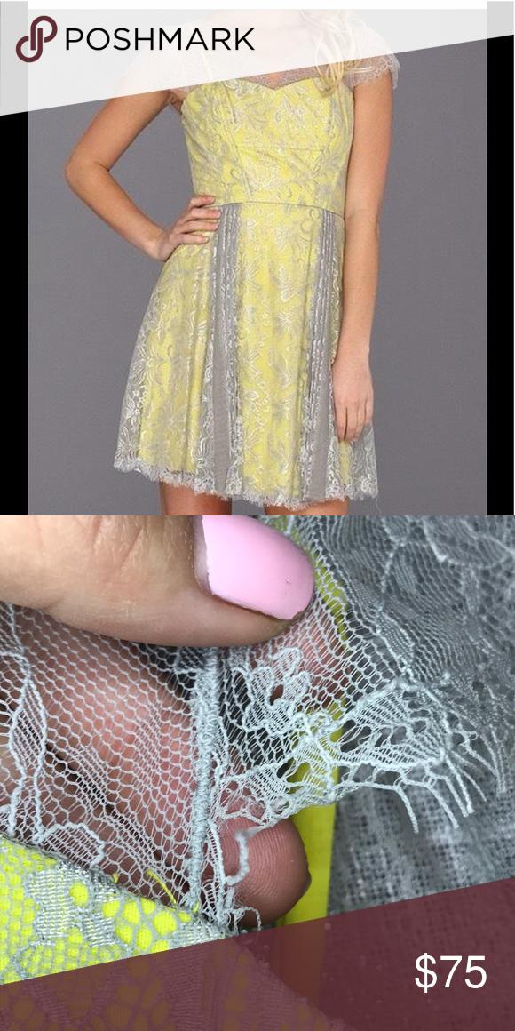 BCBG grey and yellow lace dress BCBG grey and yellow lace dress Worn a few  times ca140772e