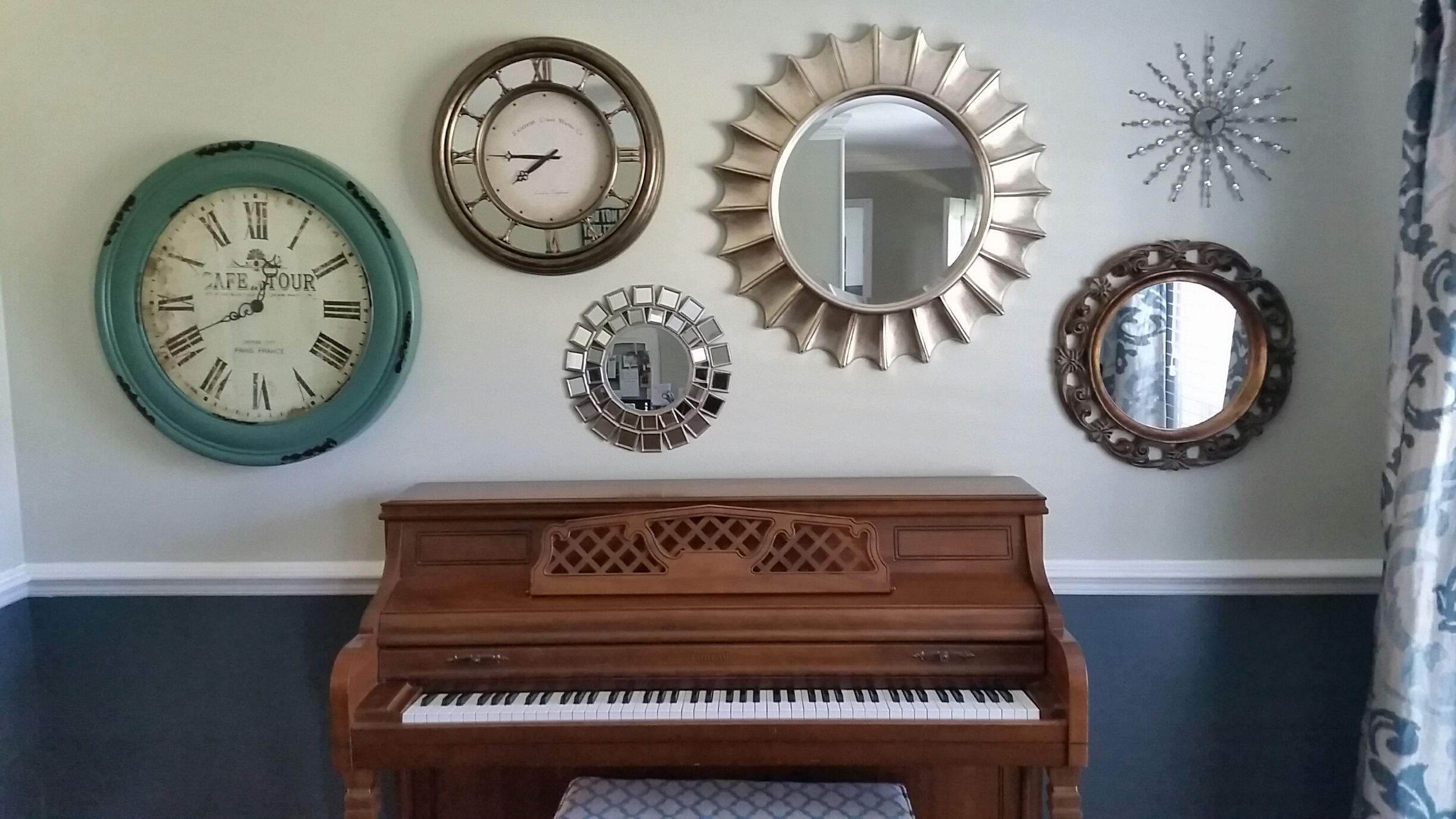 Decorative Mirror Groupings Wall Grouping Of Round Decorative Mirrors Plus One Clock