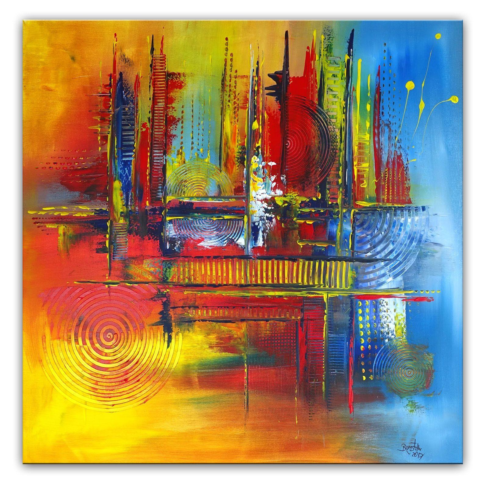 Herbstzeit Bild Gelb Blau Rot Abstraktes Wandbild Abstrakt