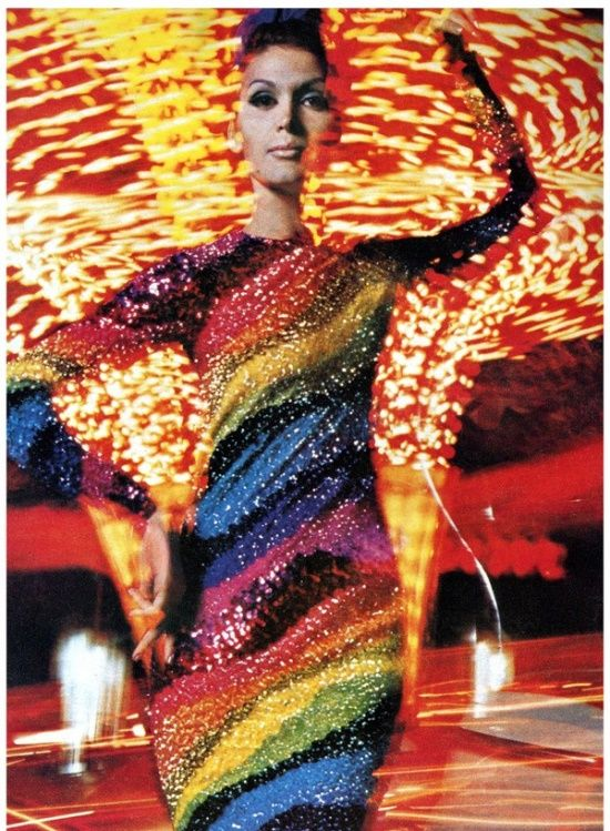 Model wearing a beaded gown by Pierre Cardin, 1965. Photo by William Klein.