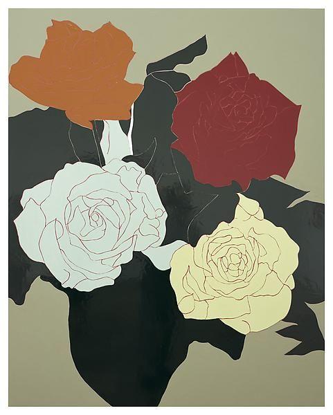 Black Flower 21st Century Op Art Set: Gary Hume, Bouquet, 2009, Enamel On Aluminum. Matthew