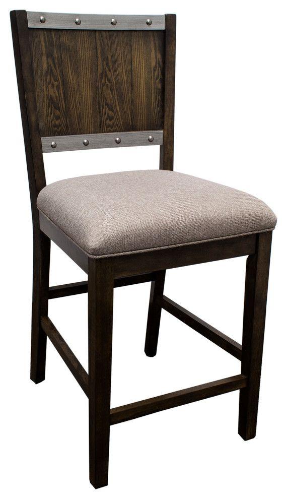 Dark Oak Industrial Counter Height Kitchen Chairs In Dark Oak Set