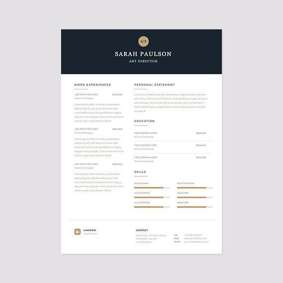 """Bonus Letter Template Elegant Resume Template Instant Download  Cover Letter """"classy ."""
