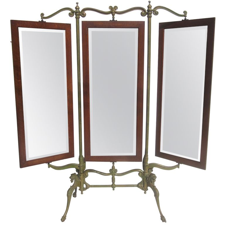 Gothic Iron and Oak Three Panel Standing Dressing Mirror | Dressing ...