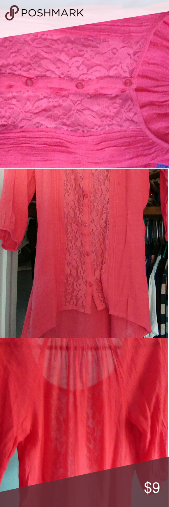 Pink see through lace dress  Lacy see through top  Coral color Top cd and Coral