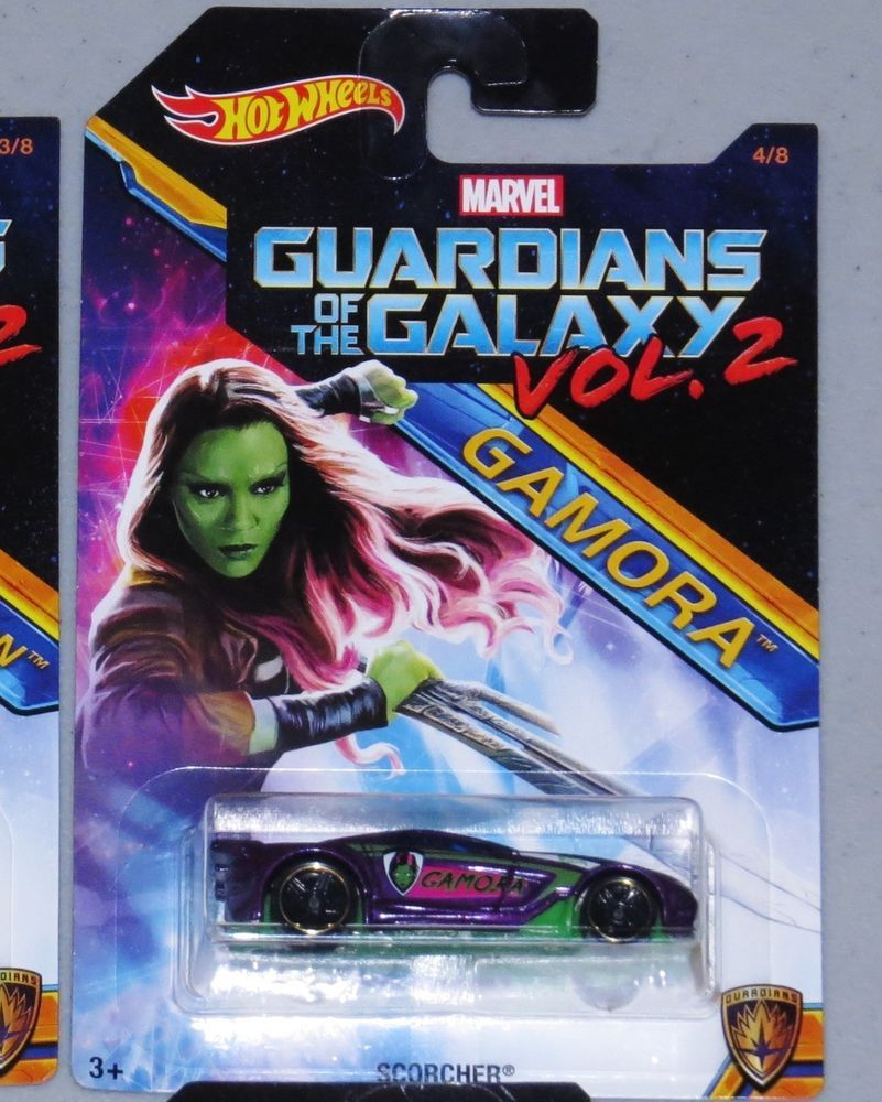 """HOT WHEELS Gamora Guardians of the Galaxy Volume 2 NEW 4 of 8 in set Scorcher #Guardiansofthegalaxy Guardians of the Galaxy Volume 2 Hot Wheel featuring """"GAMORA"""". It is #4 of 8 in the set (see photos please). It is brand new and never opened #Marvel #HotWheels"""