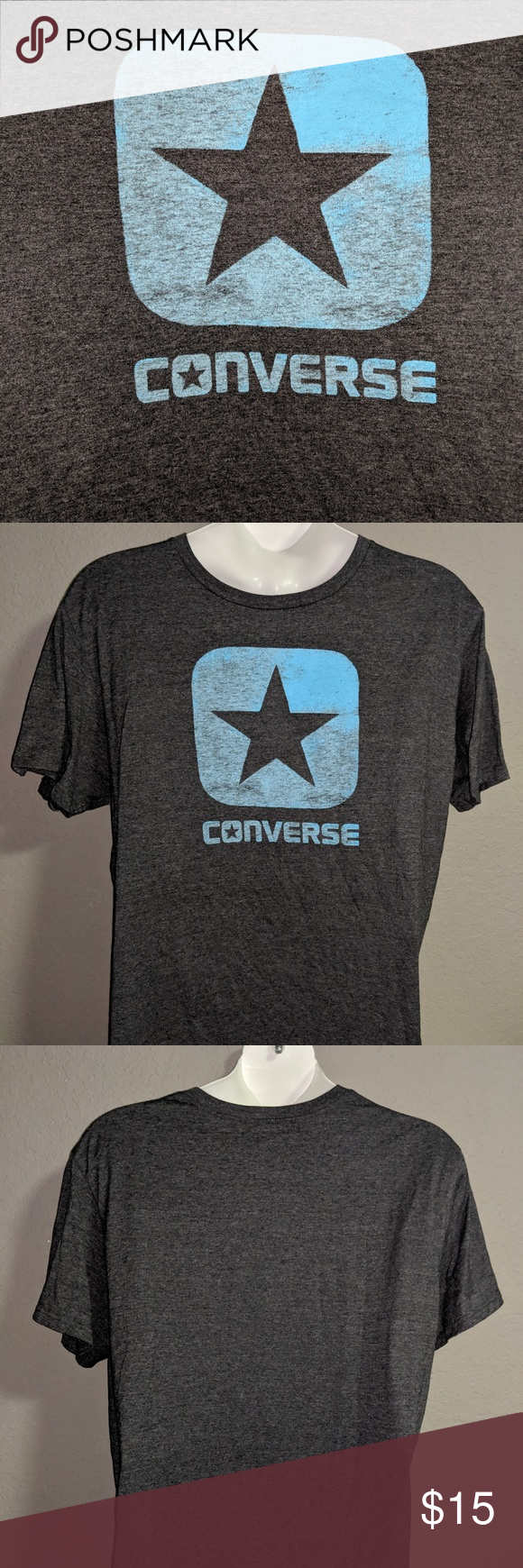 dd3b8dee9265 Converse All-star Teal Blue Logo Graphic T-shirt Converse All Star Chuck  Taylor Teal Light Blue Logo and Grey Vintage Faded Graphic Tee Men s XXL  2XL ...