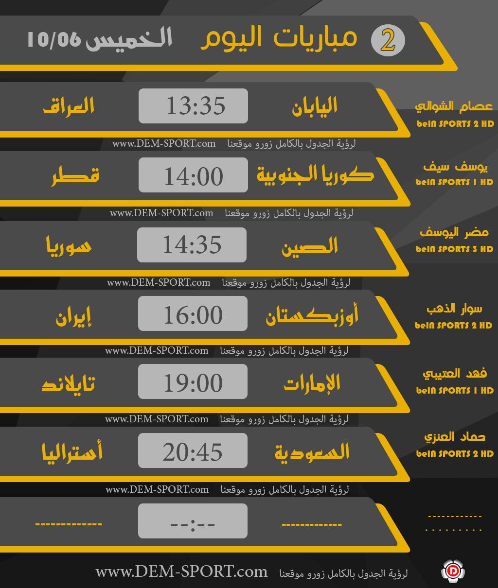 جدول مباريات اليوم الخميس 6 10 2016 تصفيات كأس العالم 2018 أسيا