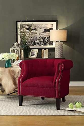 Lowest Price On Coaster Red Accent Chair With Silver Nailhead Trim