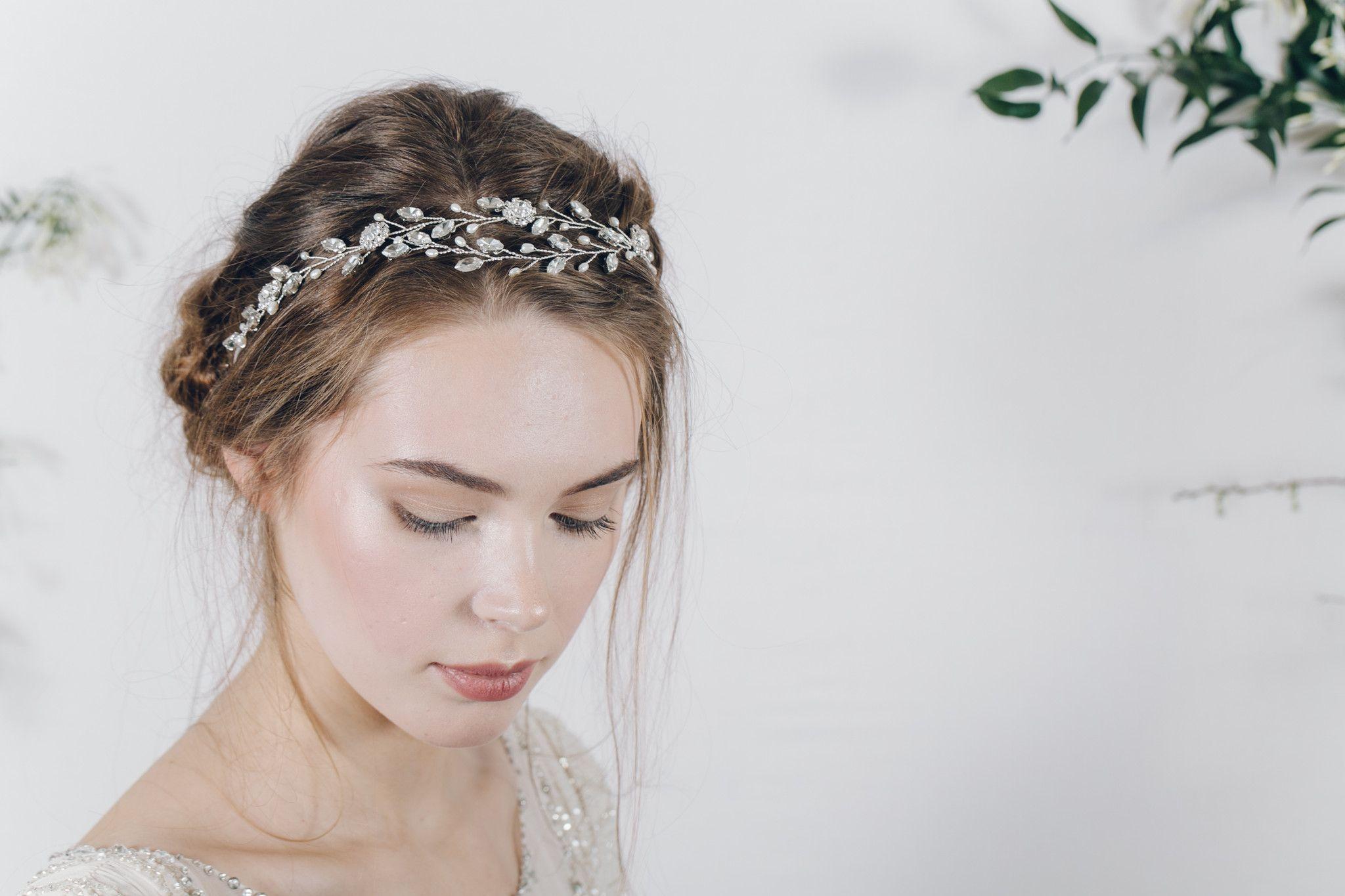 Bohemian ethereal bridal crystal browband headband - Isadora ...