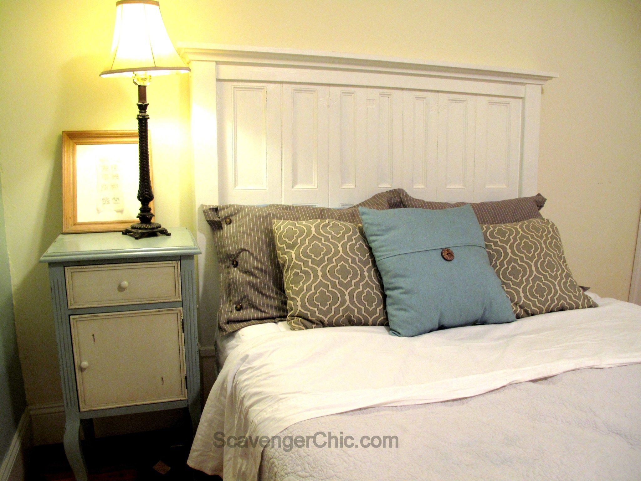 Headboard created from old shutters, upcycle, recycle-001