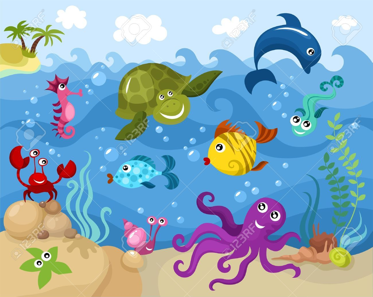 Underwater Sea Creatures Cartoon
