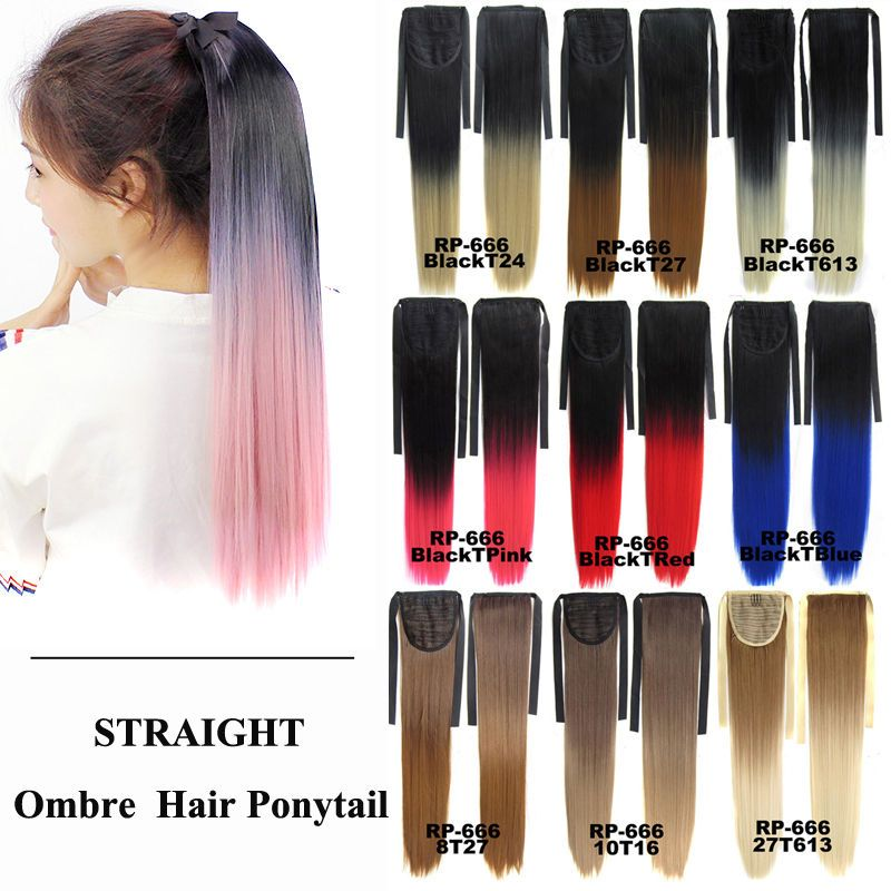 Bado Hair Straight Ombre Hair Ponytail Extension Drawstring Clip In