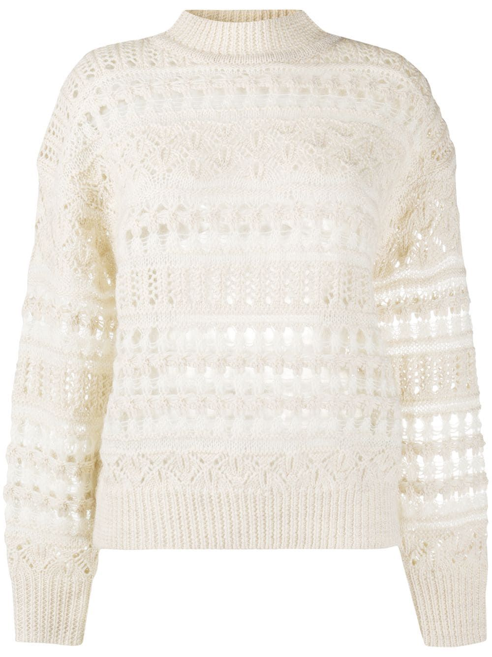 Ecru mohair-wool blend Pernille open knit jumper from ISABEL MARANT ÉTOILE featuring round neck, long sleeves, ribbed hem and ribbed cuffs.