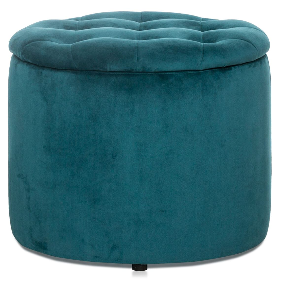 Super Flemming Velvet Storage Ottoman Turquoise Products In Ocoug Best Dining Table And Chair Ideas Images Ocougorg