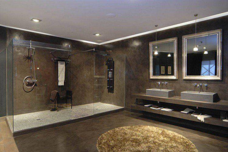 béton ciré salle de bain en marron foncé, vasques à poser - faux plafond salle de bain