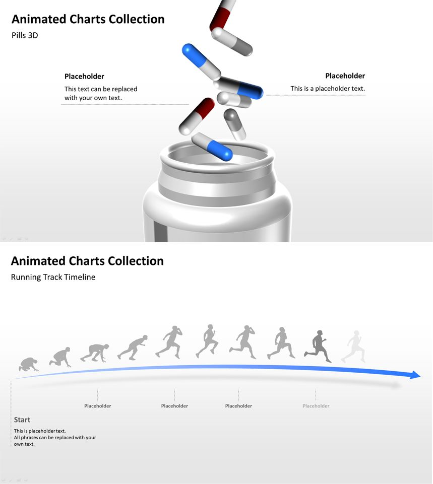 Animated PowerPoint templates with sprinter and pills. | Ppt ...