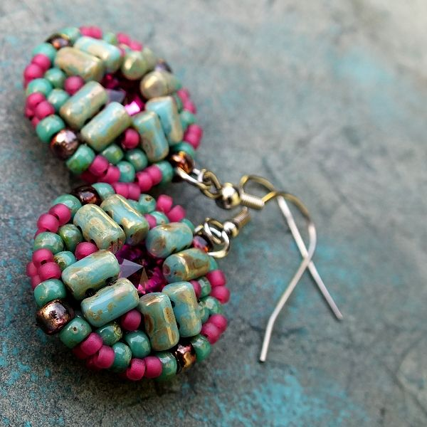 """Mosaic"" earrings - Swarovski Rivoli, Rulla, Matubo 8/0, 11/0 seed beads"
