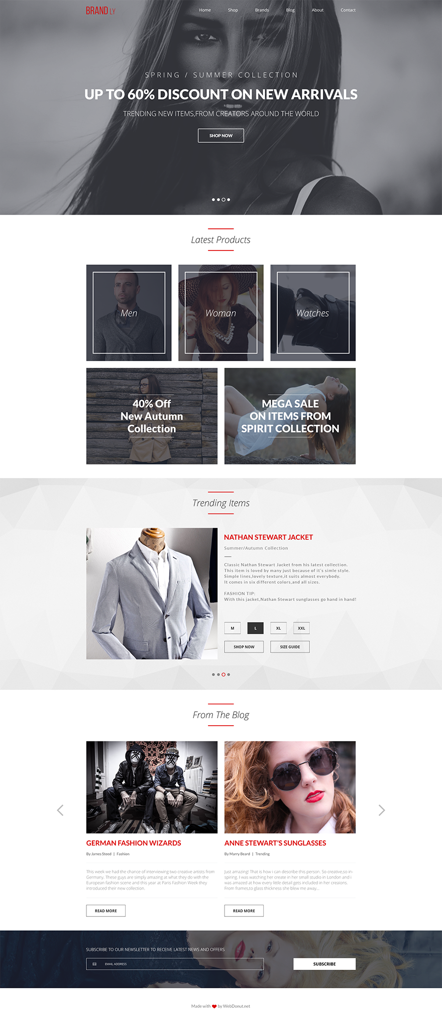Free One Page Website PSD Template - Brandly - GraphicArmy | One ...