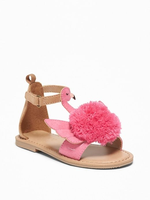 7deee10e9614 Old Navy Toddlers' Flamingo Pom-Pom Sandals Pink Flamingo Size 10