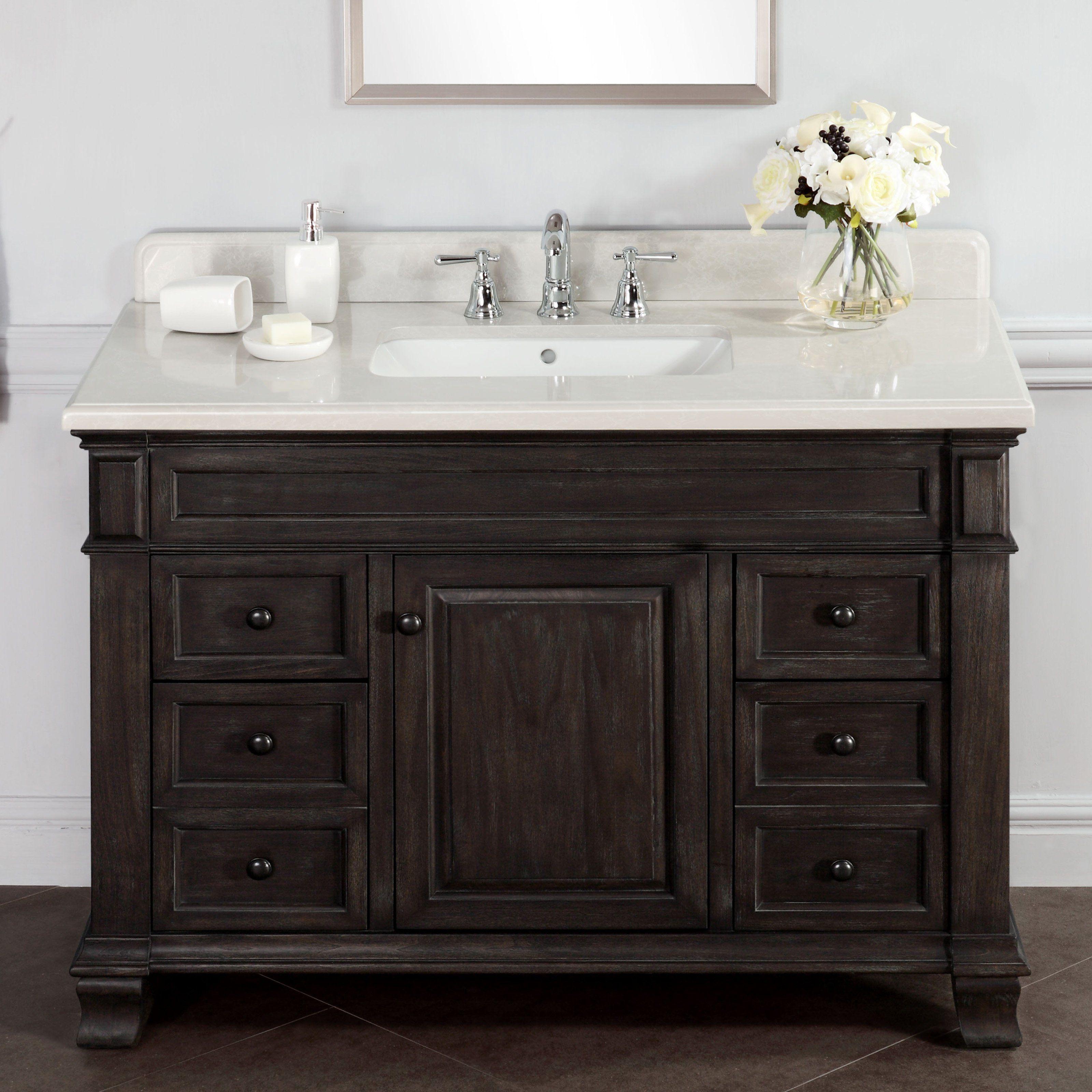 diy distressed bathroom vanity%0A Abel    inch Distressed Single Sink Bathroom Vanity Marble Top  Solid  hardwoods and wood veneers  Alpine Mist Stone top and backsplash  Black  antique knobs