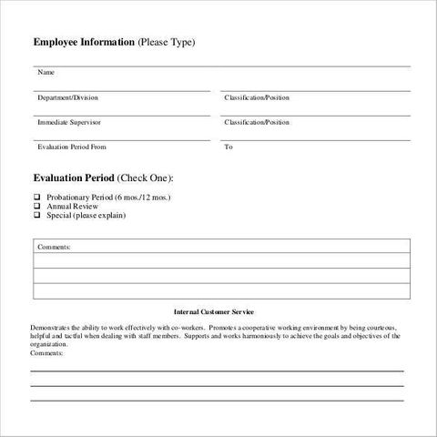customer service employee evaluation form | Employee ...