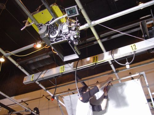 Arri SR2 camera mounted directly to the studio's lighting grid for