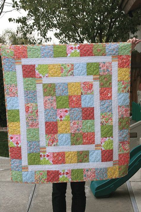 Super Quick and Easy Baby Quilt New Moms Will Love - Quilting ... : charm quilt patterns easy - Adamdwight.com