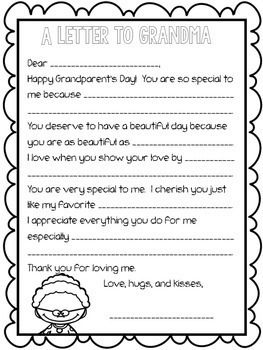 Grandparent's Day Letter: Fill-in-the-Blank #grandparentsdaycraftsforpreschoolers