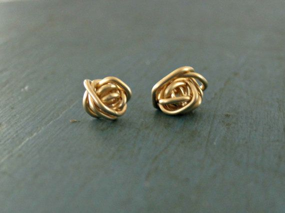 Gold Love Knot Earrings Beautiful Mess Tiny Stud Earrings #MothersDay