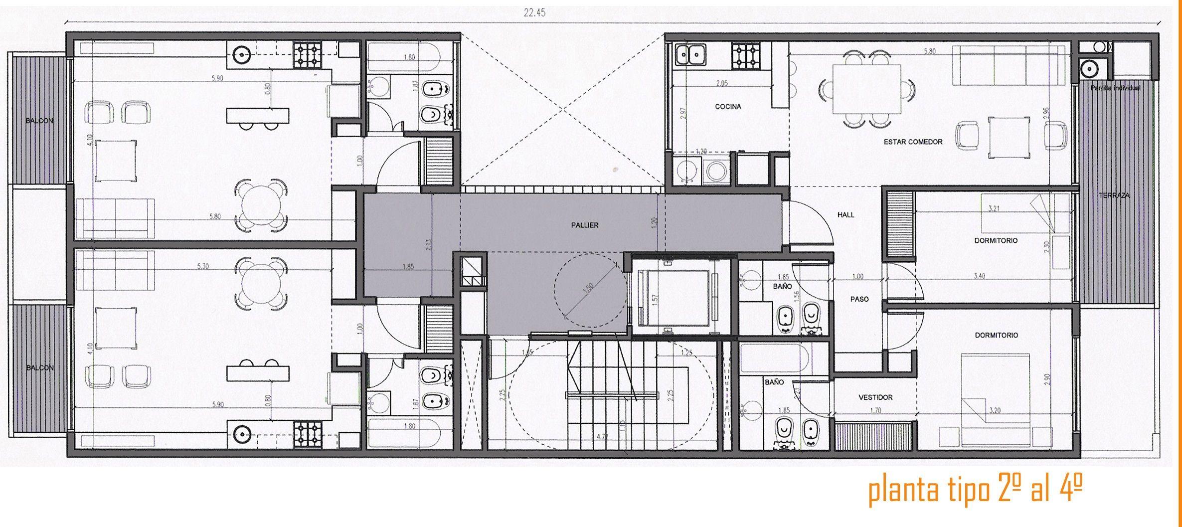 Planta pisos 1 2 3 4 casas pinterest barrio belgrano for Plano de una cocina profesional