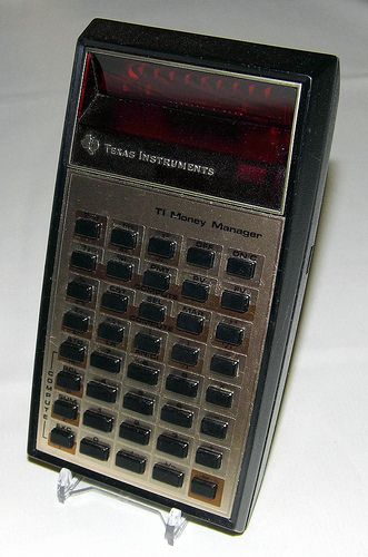 Vintage Texas Instruments TI Money Manager Pocket LED Calculator, Made in USA, Circa 1977.