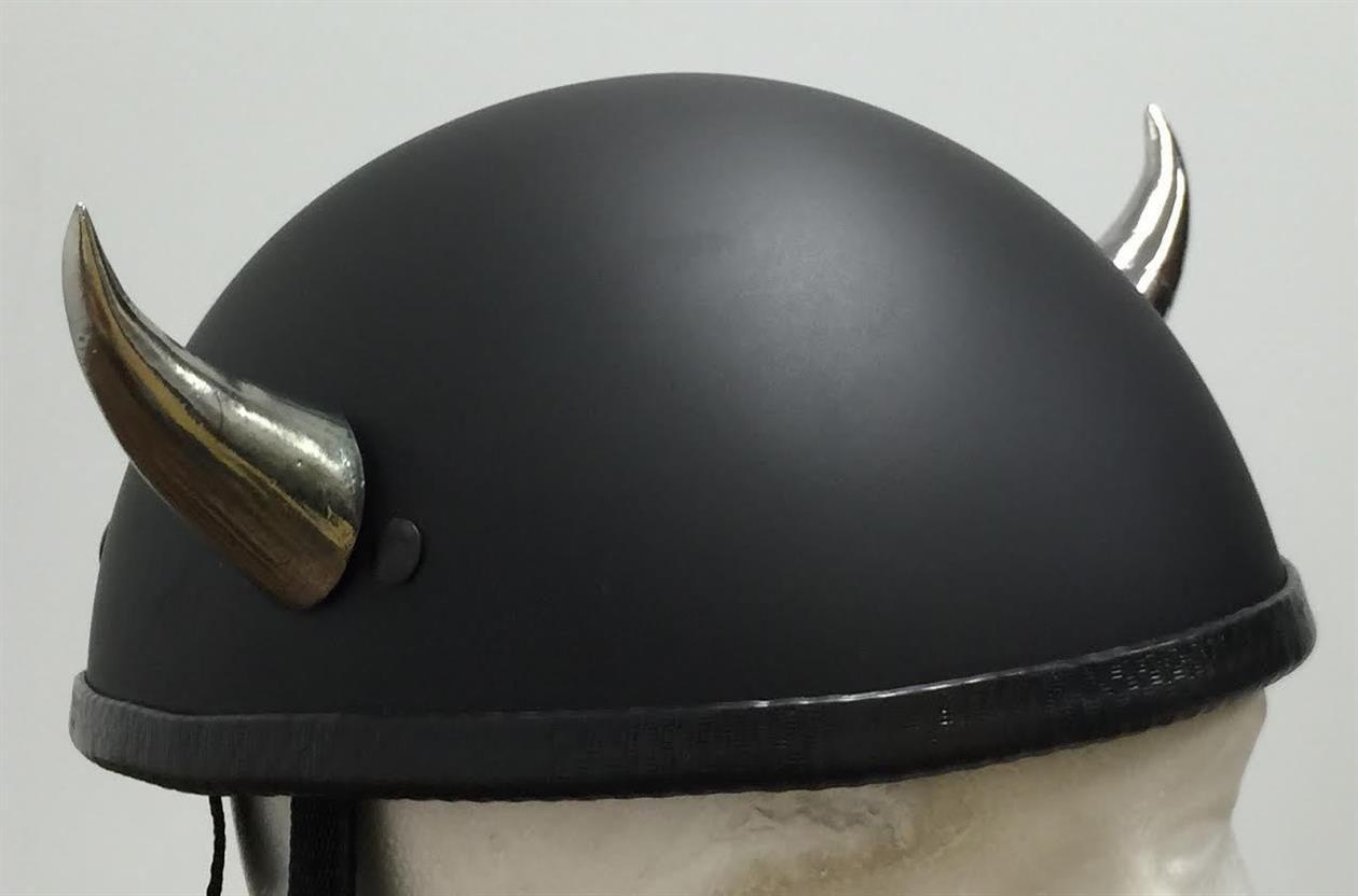 Chrome devil horns medium curved helmet horn