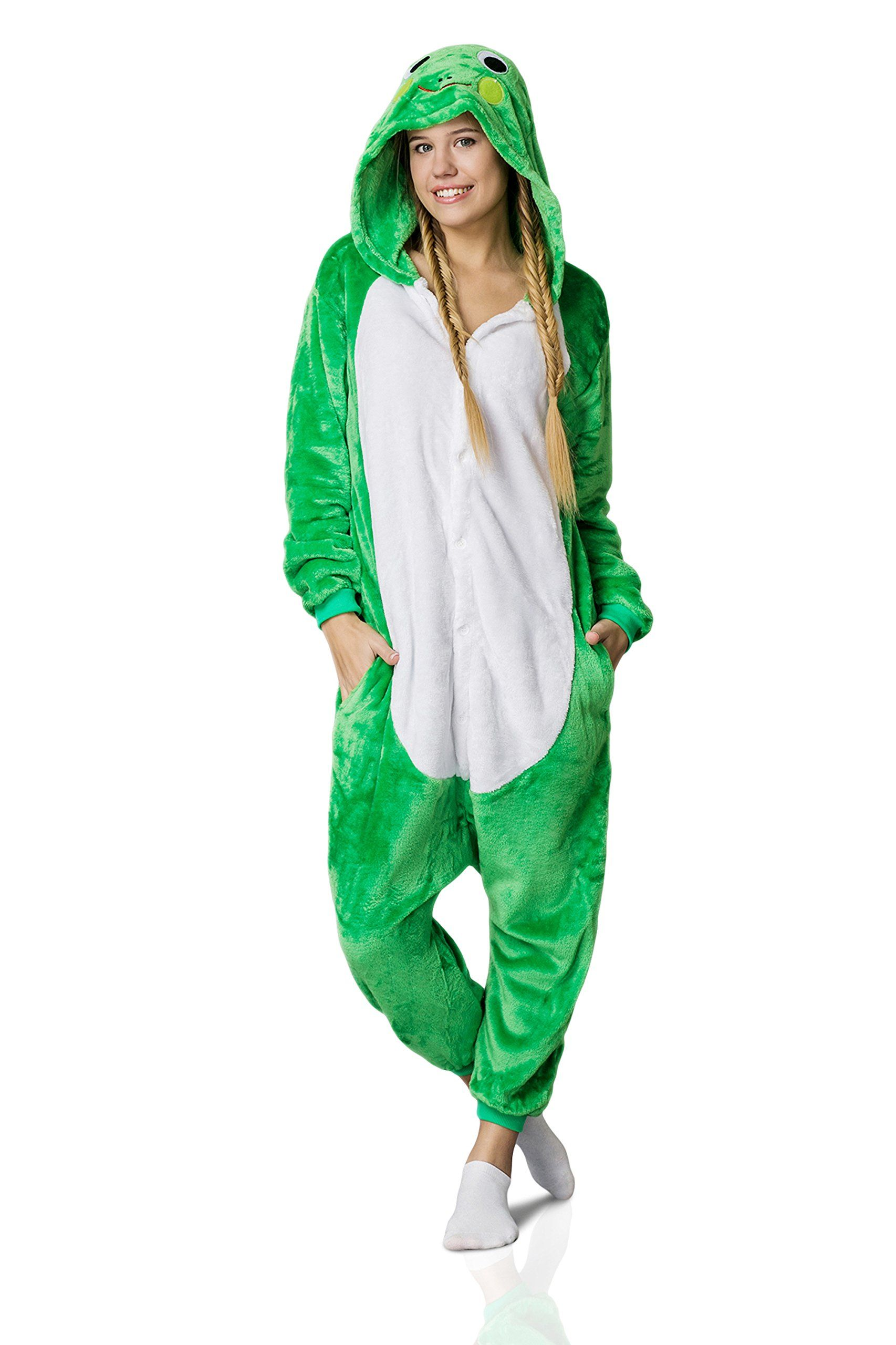76b370cb72b9 Nothing But Love Adult Frog Onesie Pajamas Kigurumi Animal Cosplay Costume One  Piece Fleece Pjs XL Green White     Make certain to have a look at this ...