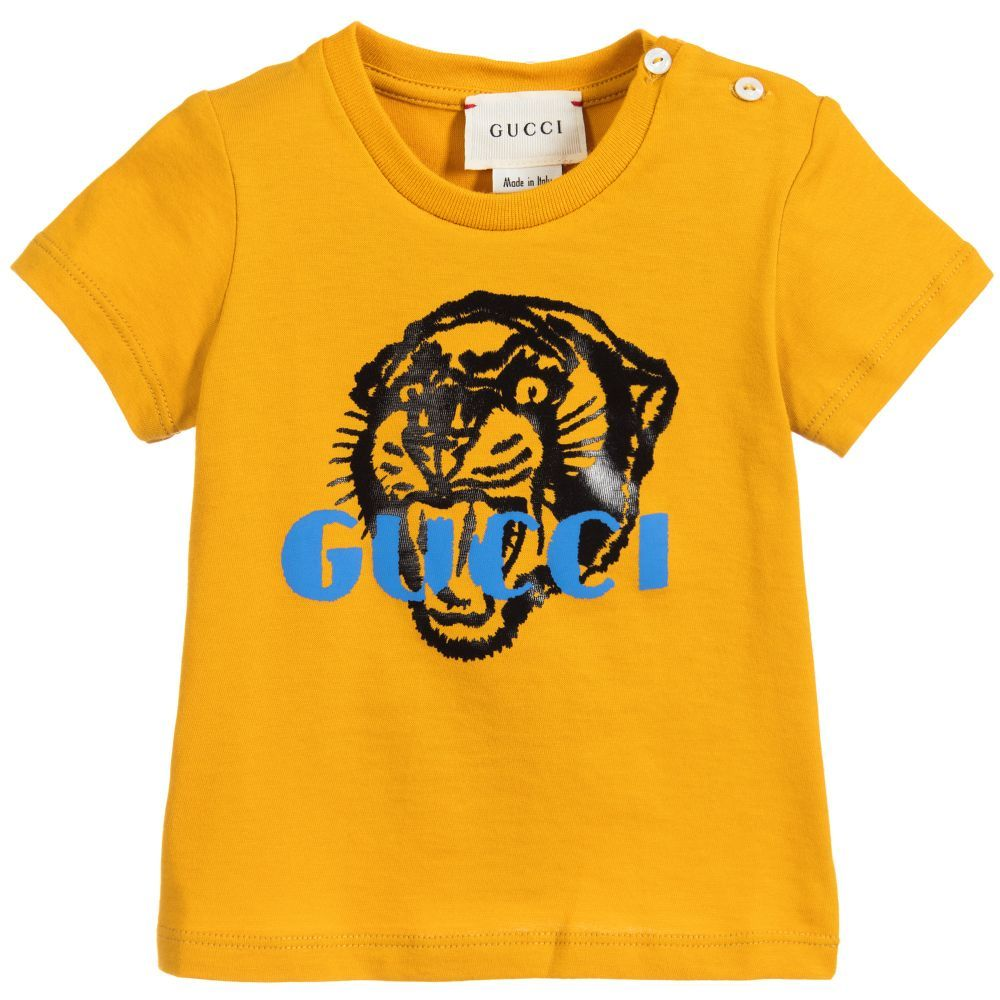 a5b6062cf0d Little boys mustard yellow cotton jersey T-shirt by luxury brand Gucci. It  has