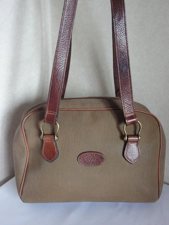 27d9613a325 Vintage Mulberry khaki shoulder bag with fabric and brown leather mix  trimmings and handles. Unisex. Roger Saul