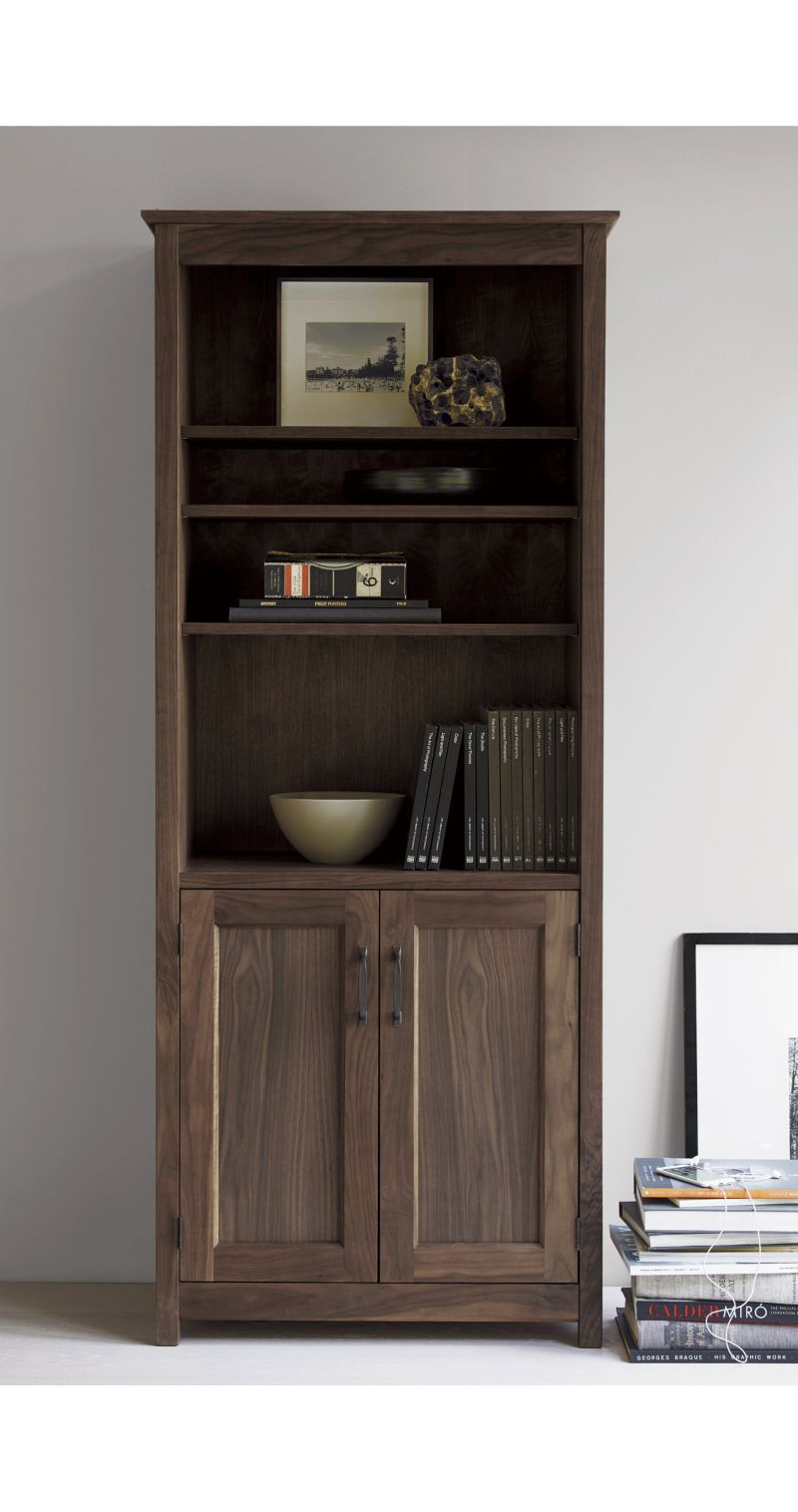 Ainsworth Walnut 30 Media Tower With Gl Wood Doors