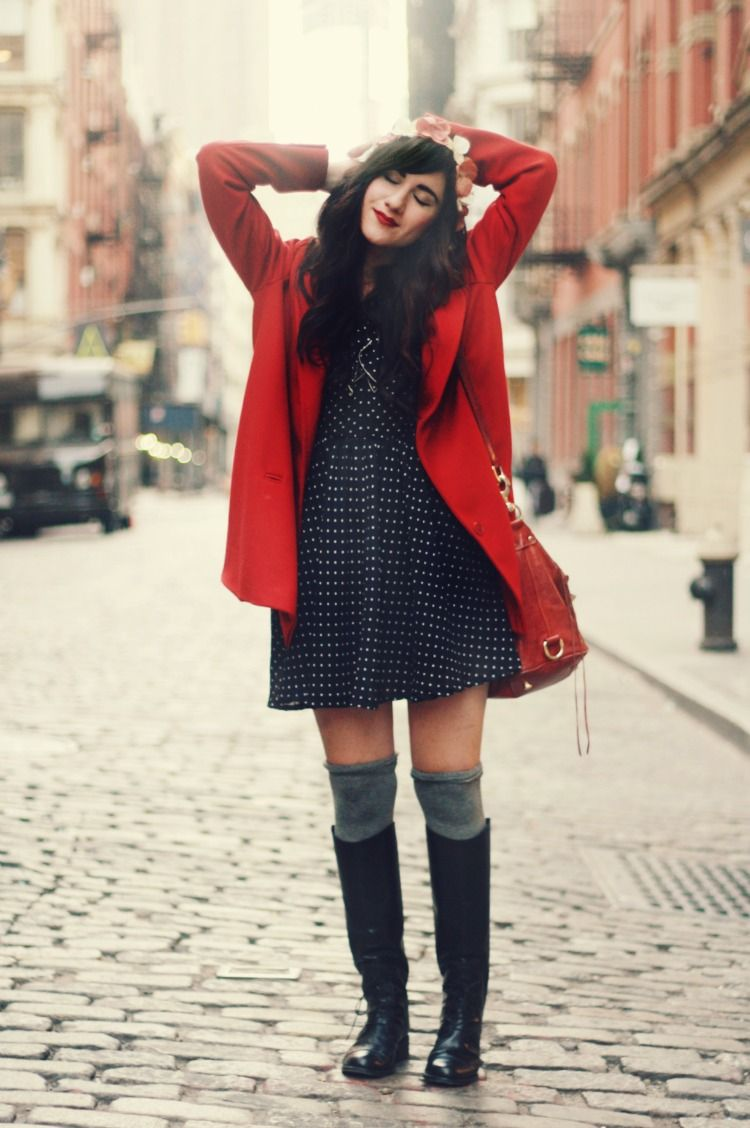 Flashes of style red coat polka dot dress grey knee high socks