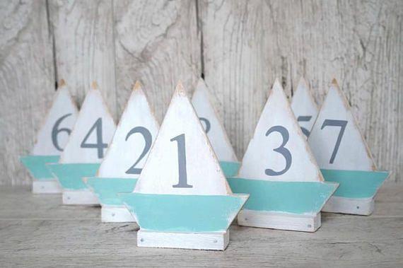 Table Numbers Wedding Beach Theme Wedding Wood Sailboat Mint