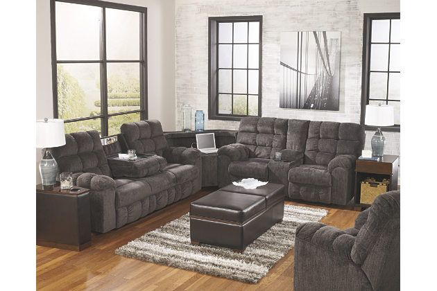 Superieur Plush Gray Reclining Sofa Sectional With Drink Holders And Power Charging  Station