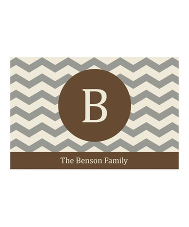 Loving this Brown Chevron Family Name & Initial Personalized Doormat on #zulily! #zulilyfinds