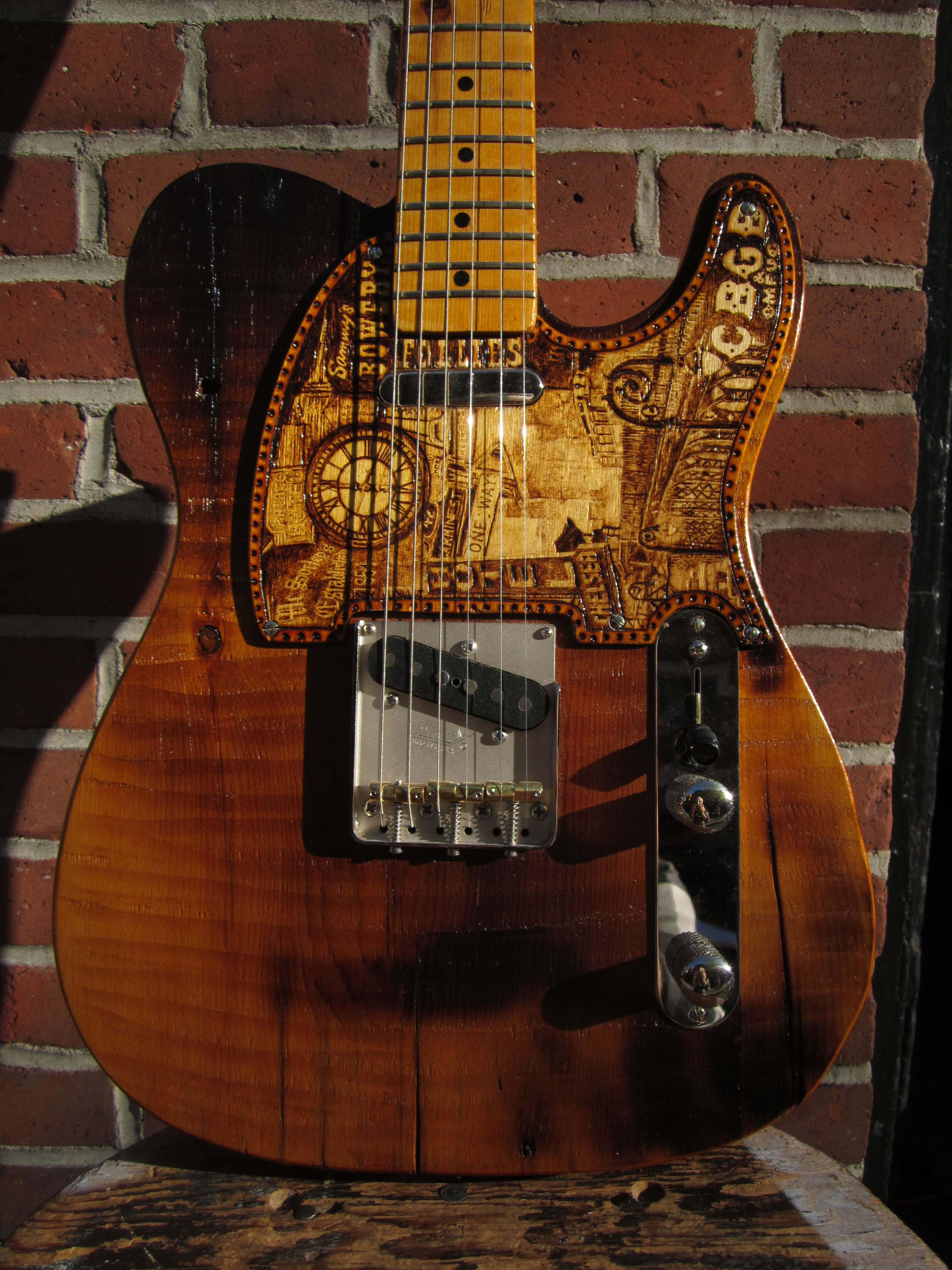 bowery pine t style pick guard pyrography by cindy hulej carmine street. Black Bedroom Furniture Sets. Home Design Ideas