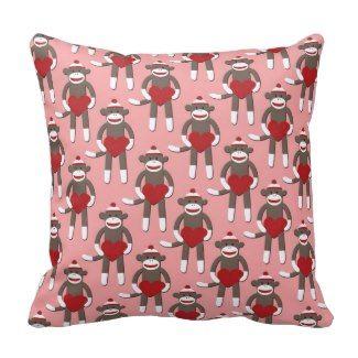 Valentine Heart Sock Monkey Print Throw Pillows #valentinesday #valentinegifts #lovepillows