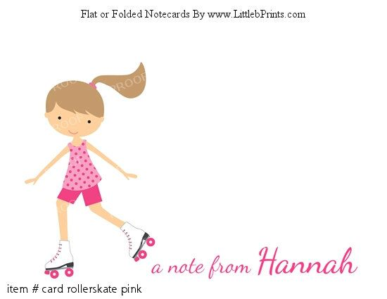 Girl Roller Skating Pink Personalized Flat or Folded Cards Notecards Stationery