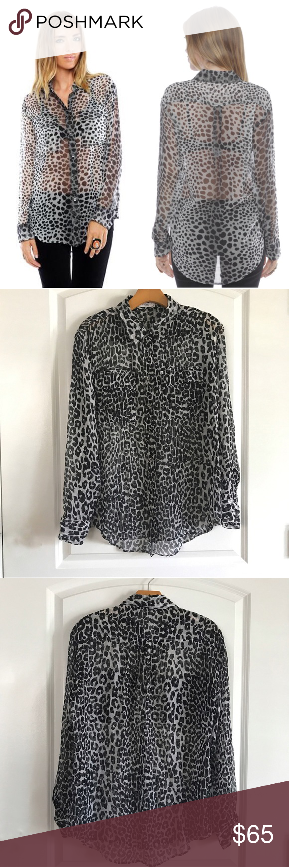 """Equipment Signature Blouse in Raw Cat Print 100% silk button sheer top. Long hem in the back with curved hem. Black and white animal print. Long sleeves with two chest pockets. Pit to pit 21"""" Length front 26"""", back 29"""" Equipment Tops Button Down Shirts"""