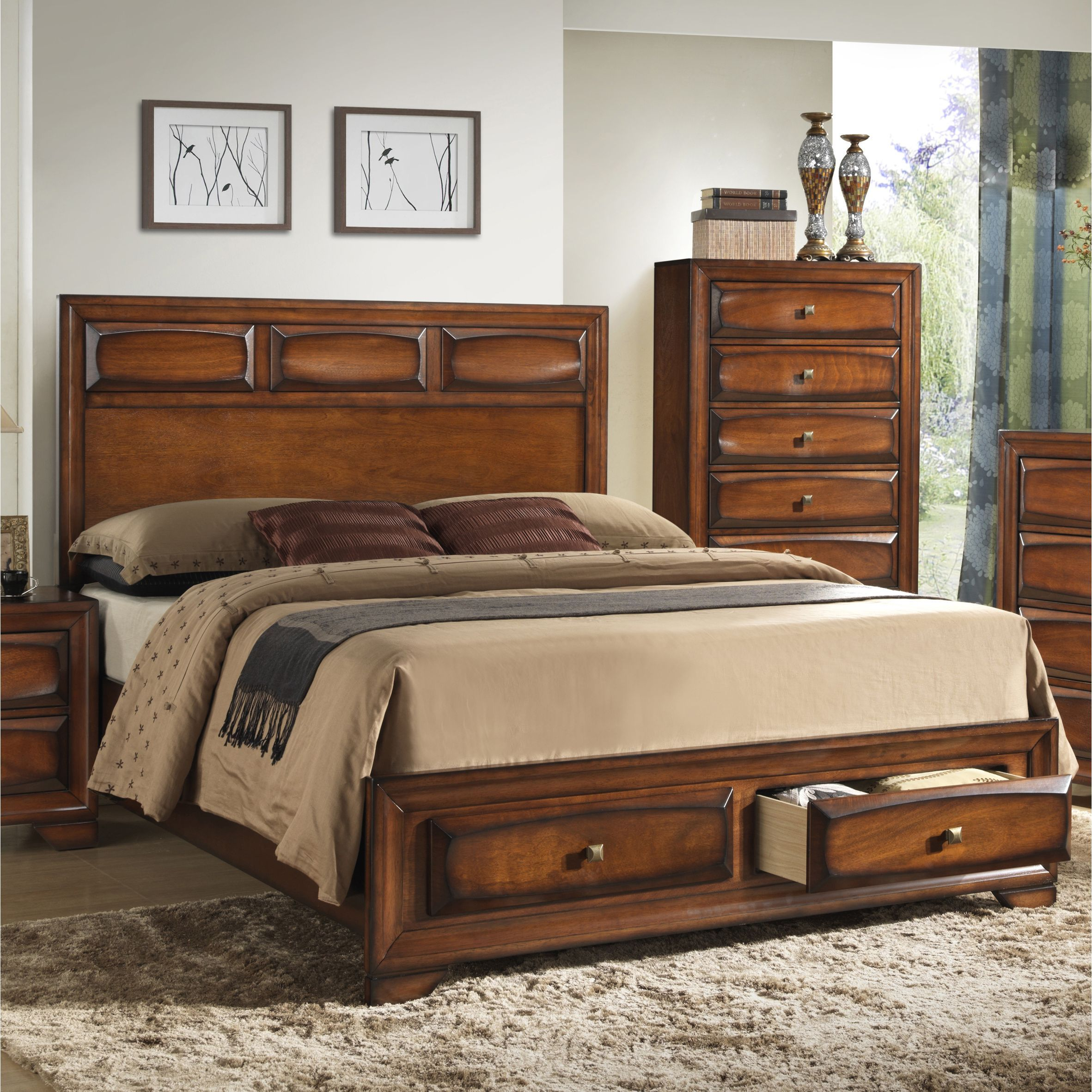 Oakland 139 Antique Oak (Brown) King-size Storage Platform Bed