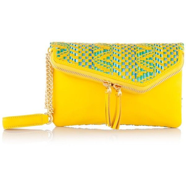 Henri Bendel Debutante Straw Wristlet (18.800 HUF) ❤ liked on Polyvore featuring bags, handbags, clutches, purses, yellow multi, wristlet clutches, straw clutches, woven purse, henri bendel and yellow handbag