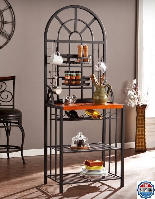 Kitchen Bakers Rack Metal Stand Wine Storage Furniture Display