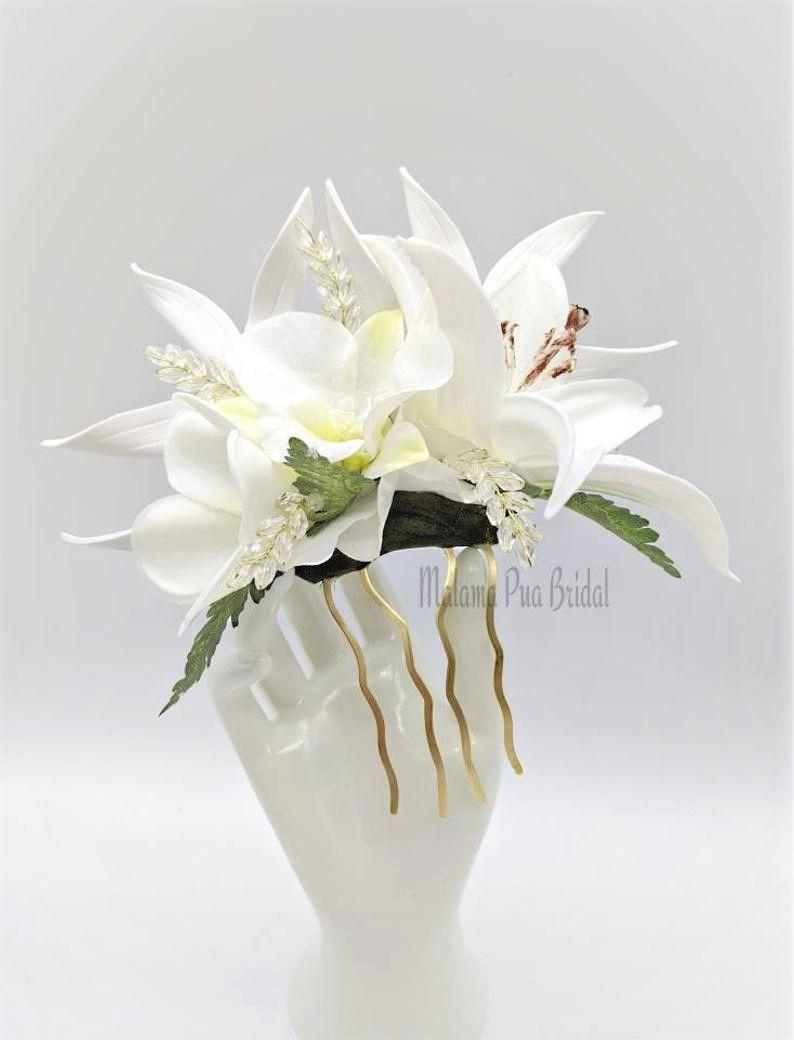 Diane | Hawaiian White Tropical Flower Headpiece with Swarovski Crystals | Malama Pua Bridal
