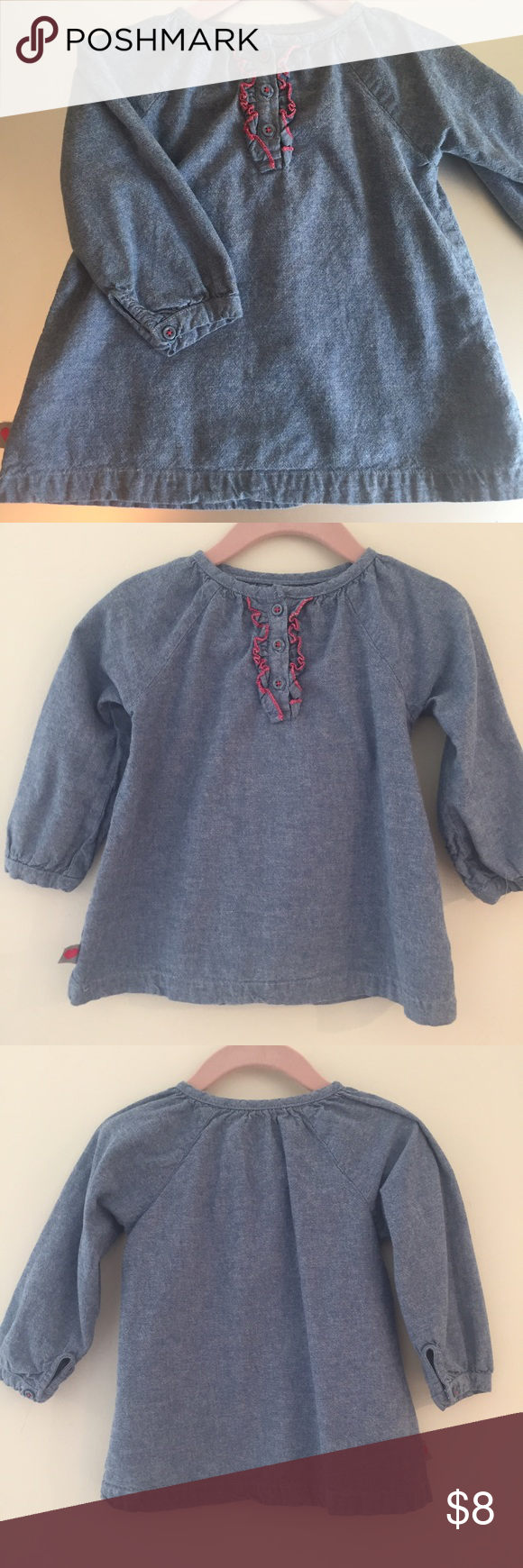 Chambray Blouse by Carters Chambray blouse by Carters. Button front. Ruffle detail. Gathered cuffs. 100% Cotton. Gently used and in Excellent condition. Carter's Shirts & Tops Blouses